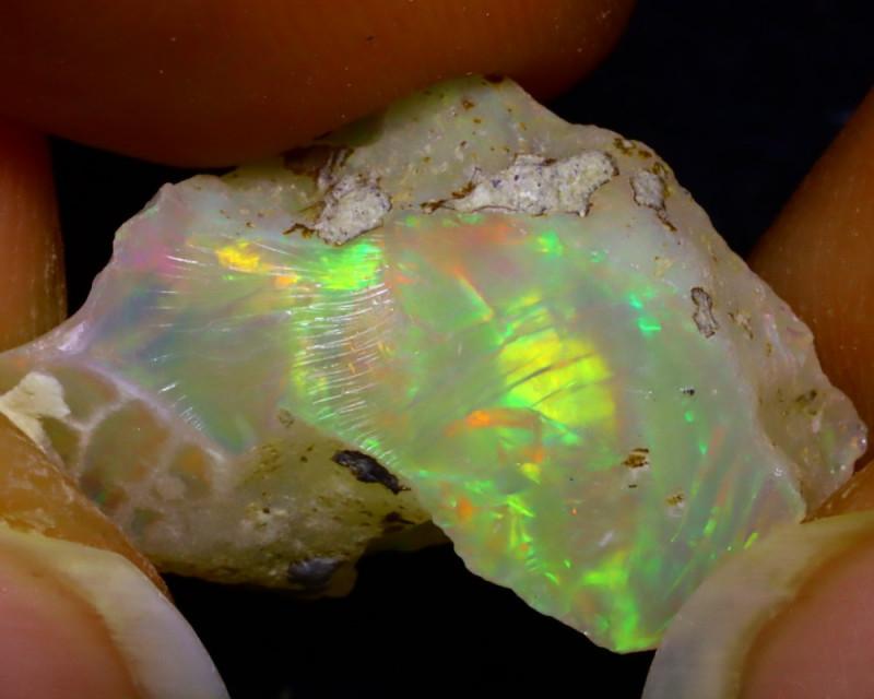 8.37Ct Multi Color Play Ethiopian Welo Opal Rough  HN31/R2