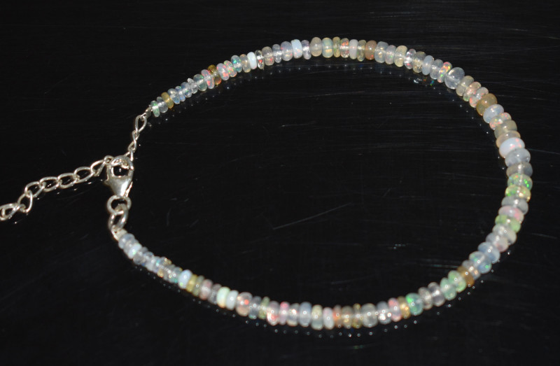 16.50 CT OPAL BRACELET MADE OF NATURAL ETHIOPIAN BEADS STERLING SILVER OBB1