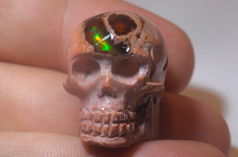 60ct Skull Mexican Cantera Multicoloured Fire Opal Pendant