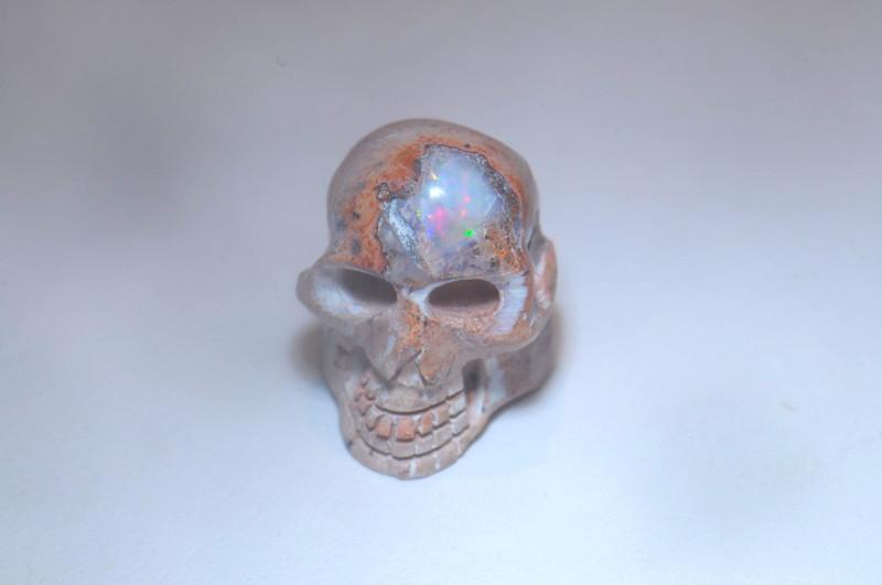 11ct Skull Mexican Cantera Multicoloured Fire Opal Pendant