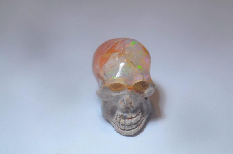 11.03ct Skull Mexican Cantera Multicoloured Fire Opal Pendant