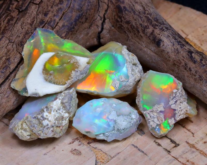 30.48Ct Bright Color Natural Ethiopian Welo Opal Rough DT0290