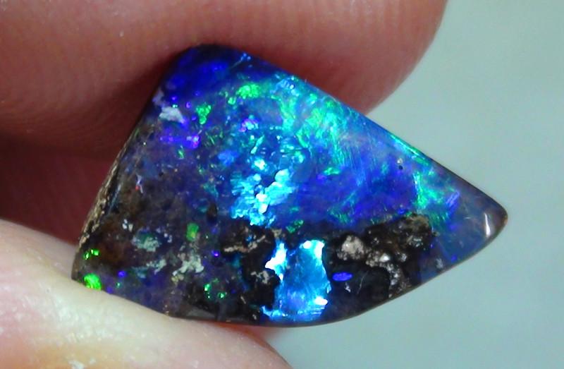 2.25 ct Boulder Opal With Natural Gem Blue Green Color
