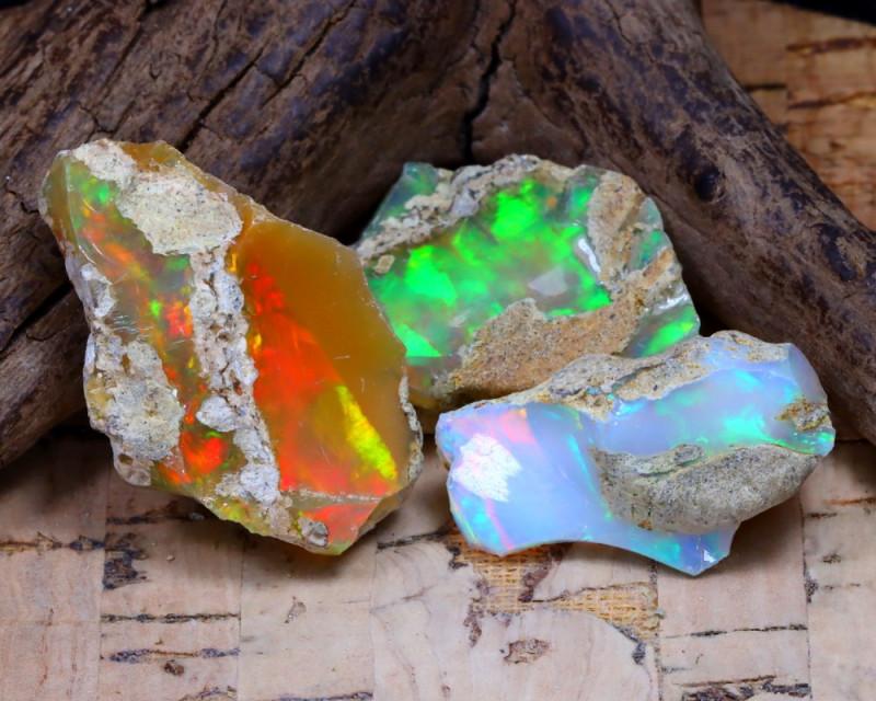 30.61Ct Bright Color Natural Ethiopian Welo Opal Rough DT0377