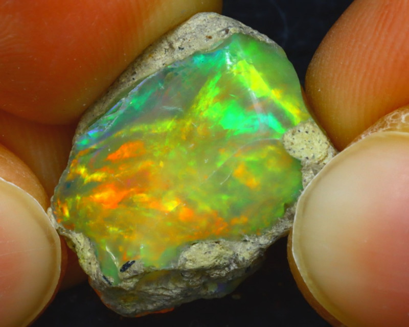 11.12Ct Multi Color Play Ethiopian Welo Opal Rough HR11/R2