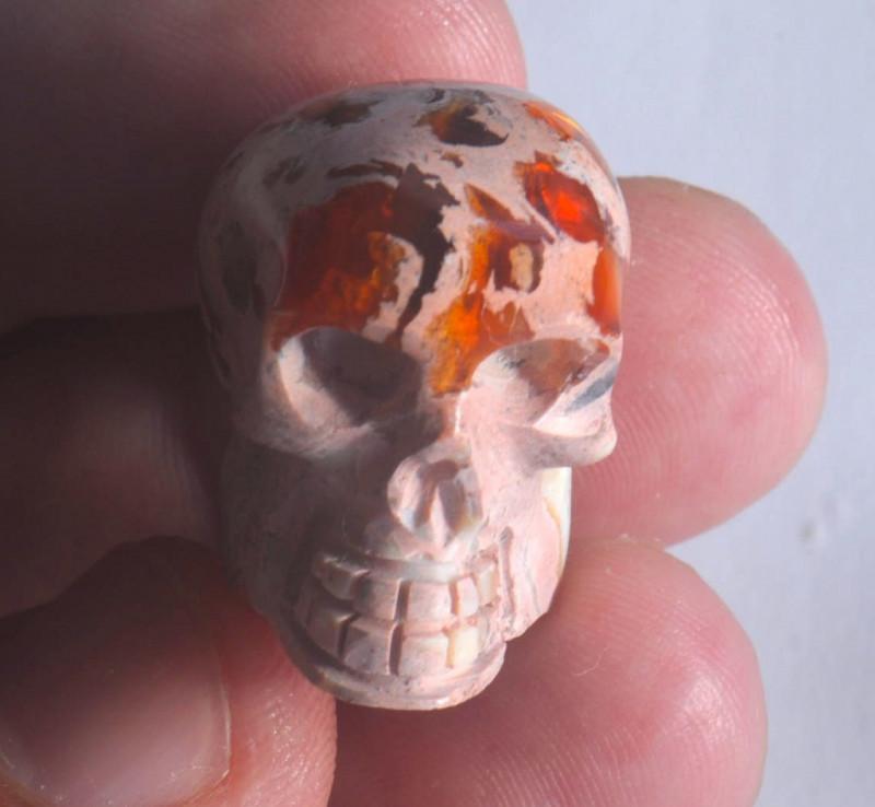 56.07ct Unique Nature Beauty Gift Matrix Opal Carving Mesmerizing Skull