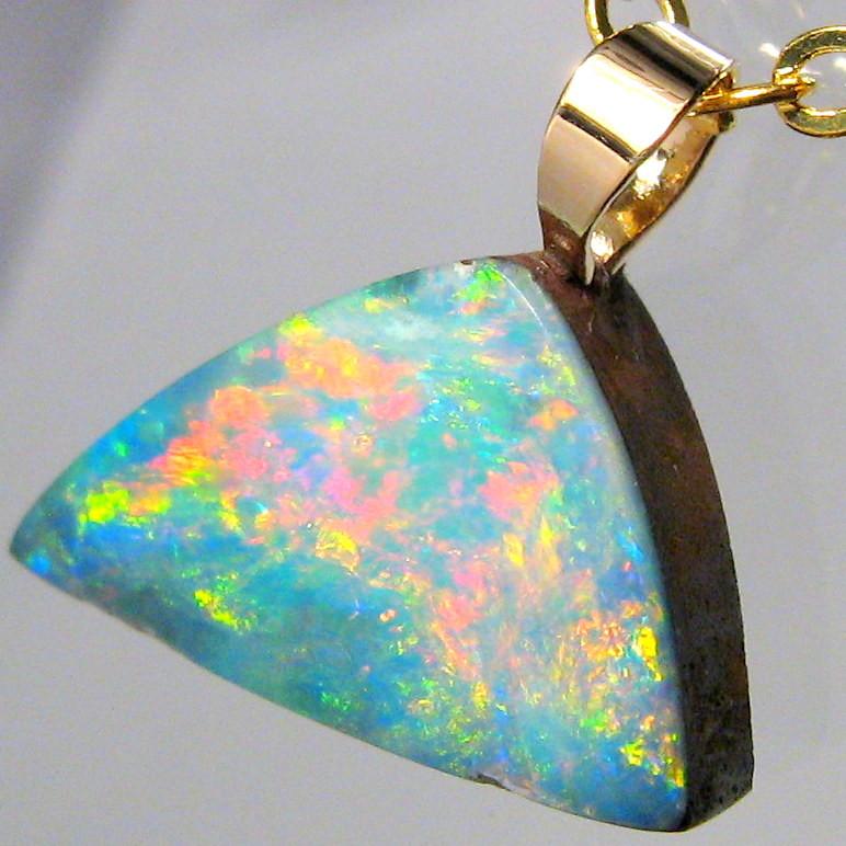 Australian Genuine Opal Pendant 14k Gold Doublet 3.7ct