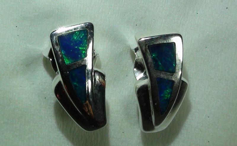 Australian Solid Opal 925 Sterling Silver Earrings *