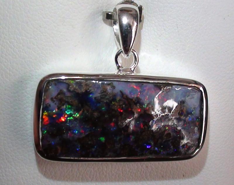 Stunning 925 Solid Silver Gem Multi Color Boulder Opal Wood Fossil Pendant