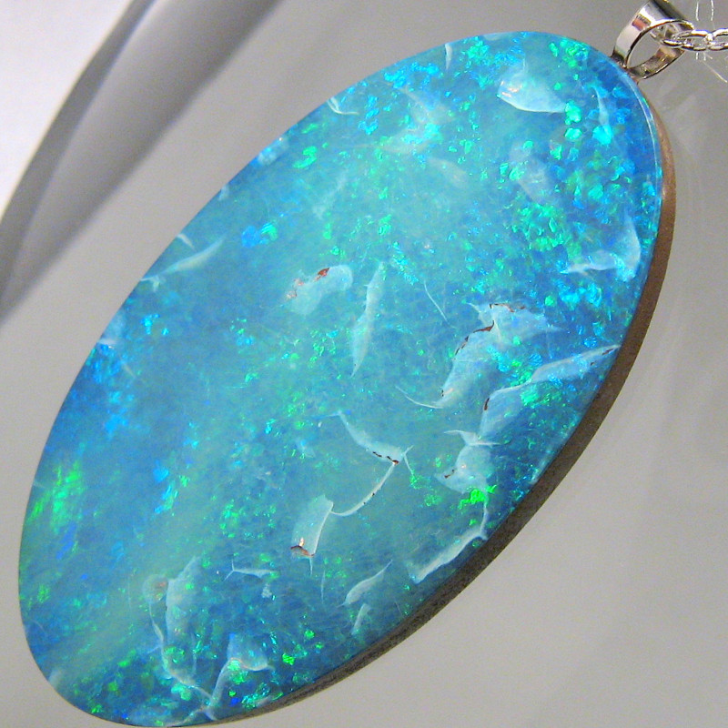 Large Australian Opal Pendant Solid Sterling Silver 22.4ct