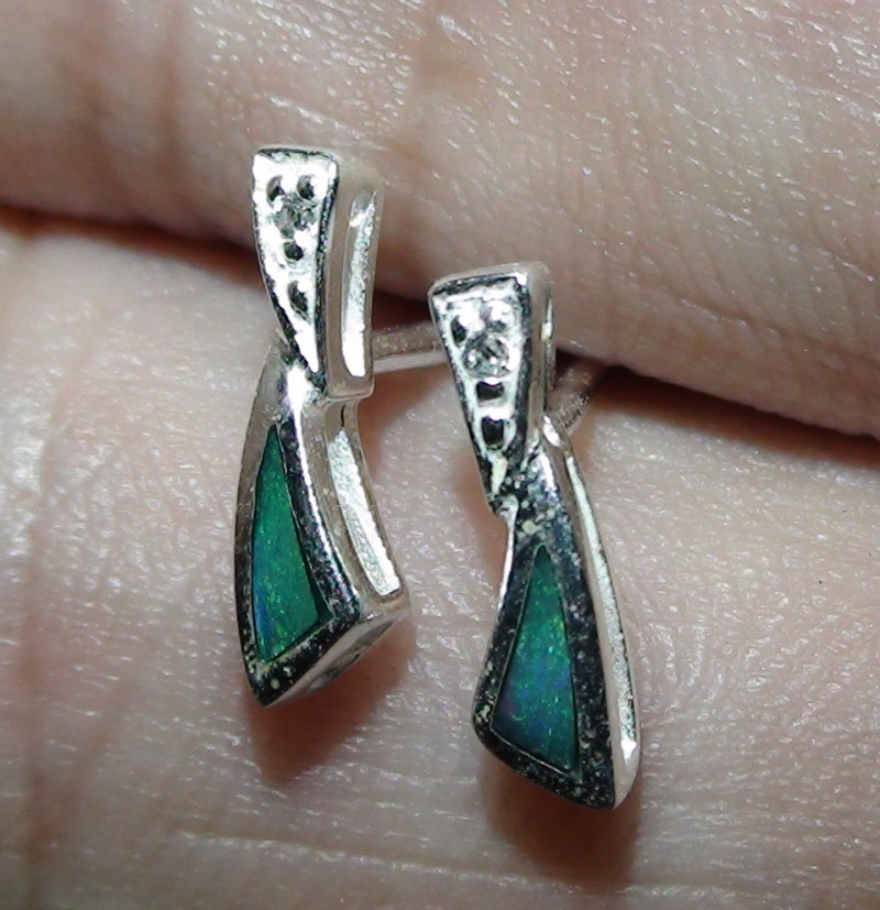 Australian Solid Opal 925 Sterling Silver Earrings *