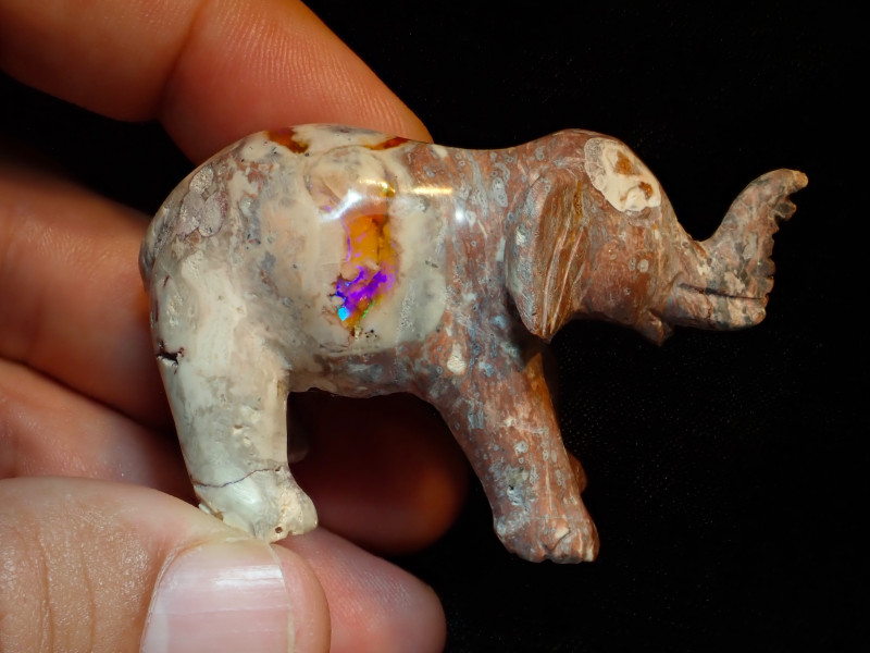 Unique Nature Beauty Gift Matrix Opal Carving Mesmerizing Elephant