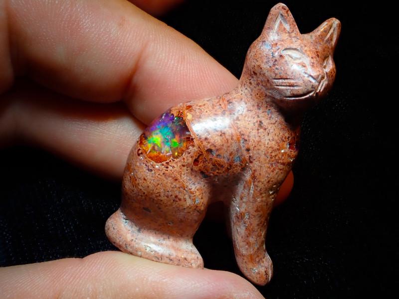 Unique Nature Beauty Gift Matrix Opal Carving Mesmerizing Cat