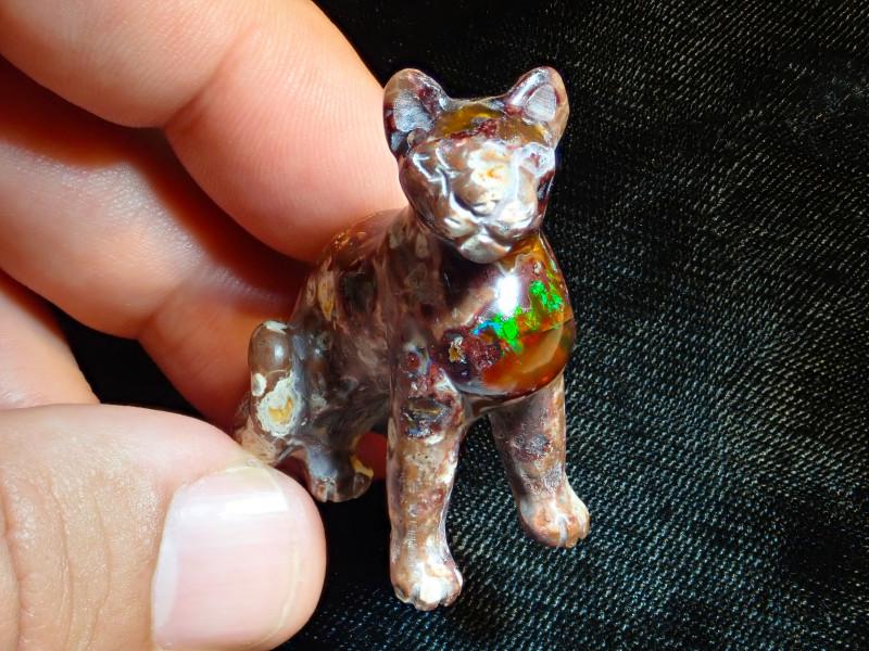 Unique Nature Beauty Gift Matrix Opal Carving Mesmerizing Jaguar