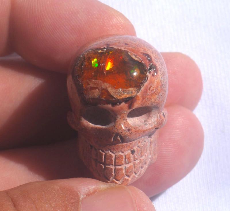 Unique Nature Beauty Gift Matrix Opal Carving Mesmerizing Skull