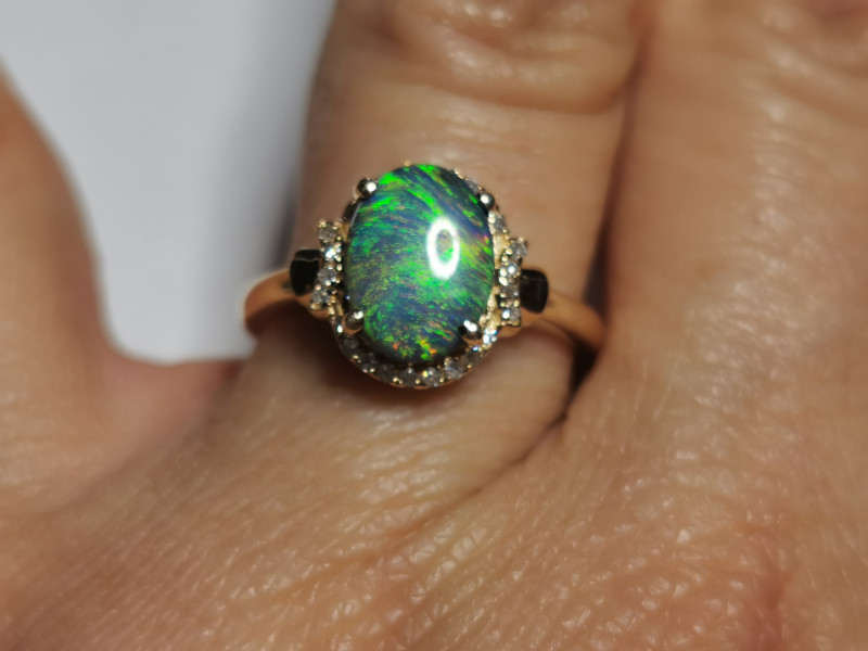 ELEGANT, DELICATE, GORGEOUS BLACK OPAL RING