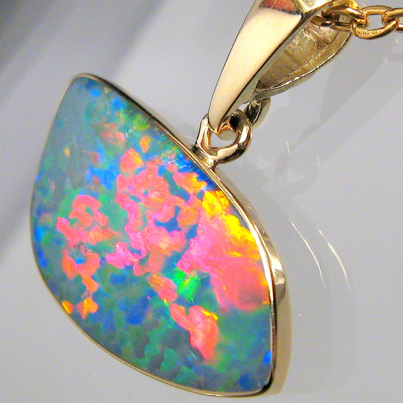 Australian Opal Pendant 5.7ct 14k Gold Rare Pattern Necklace D47