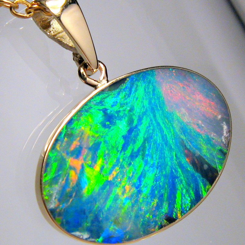 Australian Opal Pendant 7.35ct 14k Gold Asteria Pattern #D48