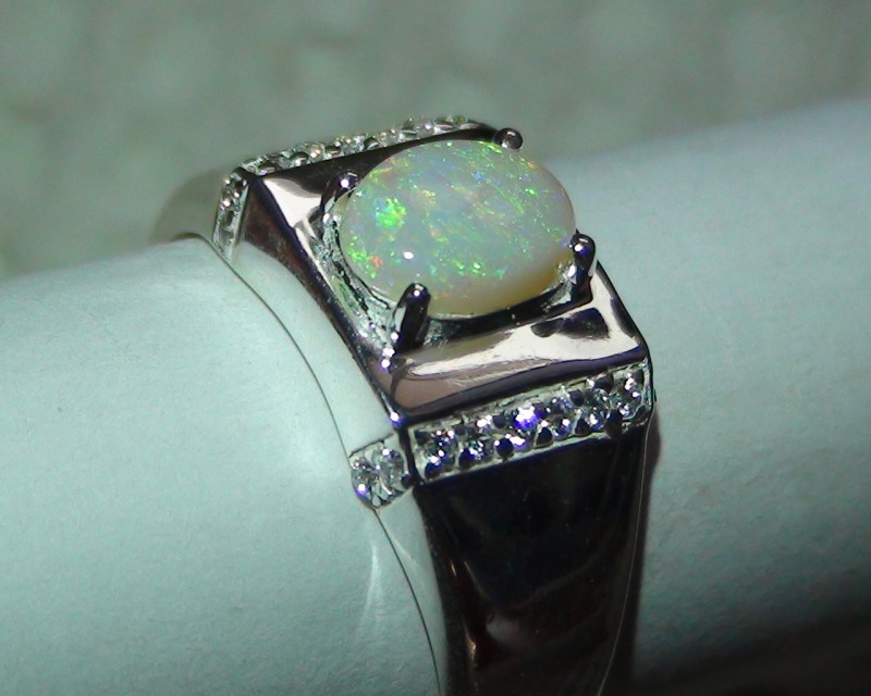 Australian Coober Pedy Crystal Opal Men Silver Sz 10.75 Ring With cz's *