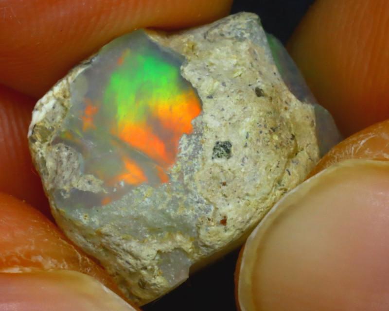 7.20Ct Multi Color Play Ethiopian Welo Opal Roug J1506/R2