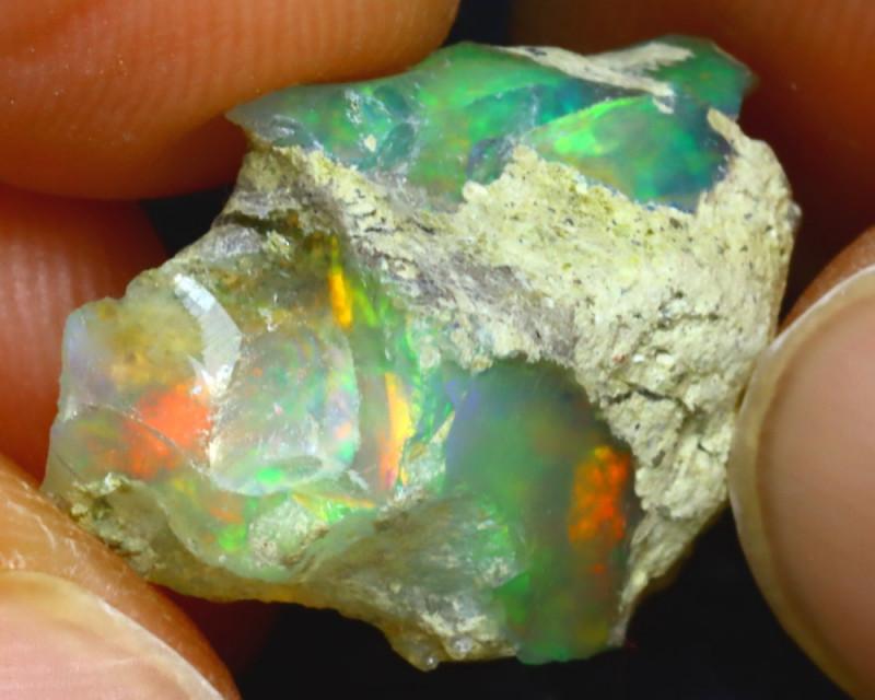 9.60Ct Multi Color Play Ethiopian Welo Opal Roug J1507/R2