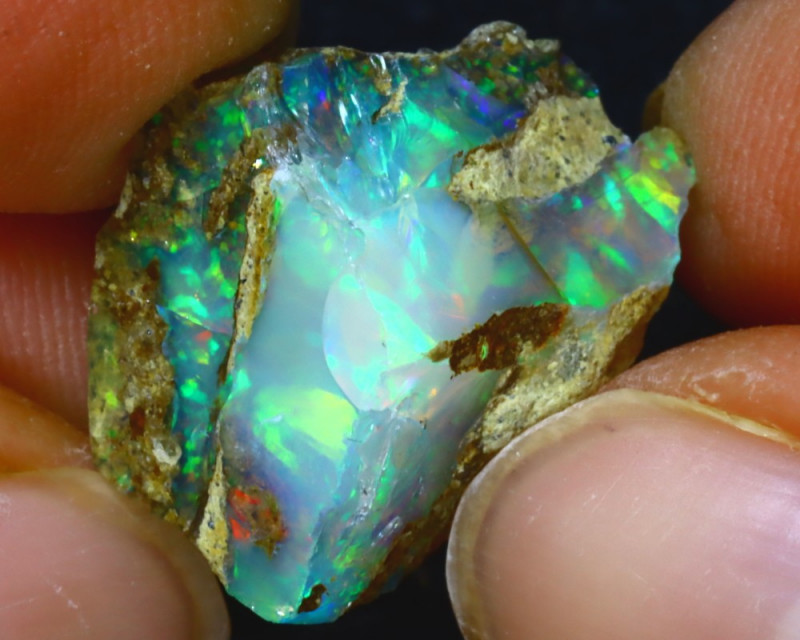 14.75Ct Multi Color Play Ethiopian Welo Opal Rough HF2016/R2