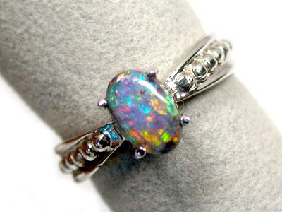 boulder opal 18k white gold ring size 55 sco847