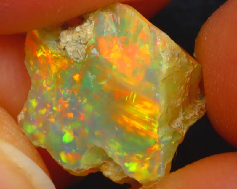 3.50Ct Multi Color Play Ethiopian Welo Opal Rough J2511/R2