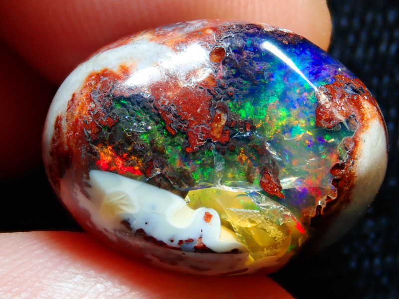 19.87ct Mexican Matrix Cantera Multicoloured Fire Opal