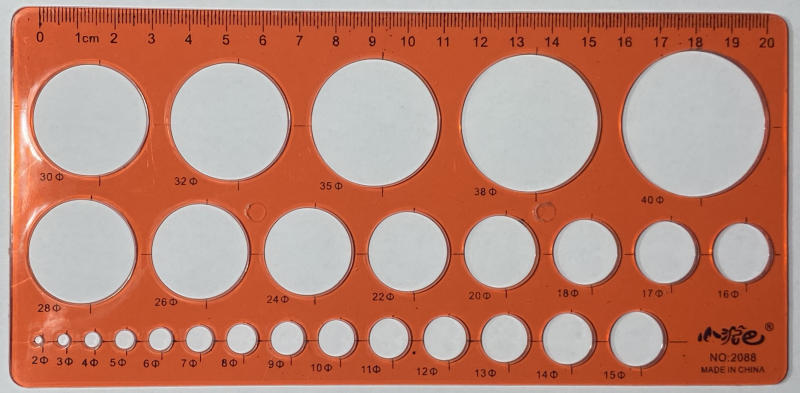 20cm CircleOpalTemplate Red [29675]
