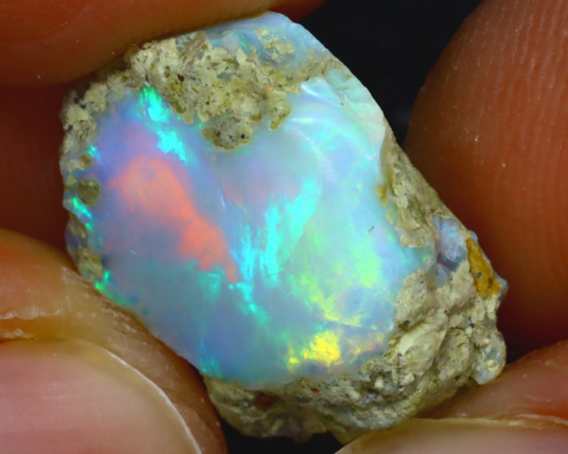 8.33Ct Multi Color Play Ethiopian Welo Opal Rough HF0115/R2