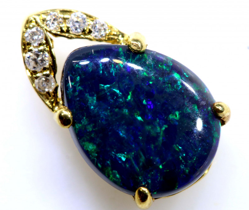 3.15 CTS   BLACK OPAL 18K GOLD  PENDANT     OF-607