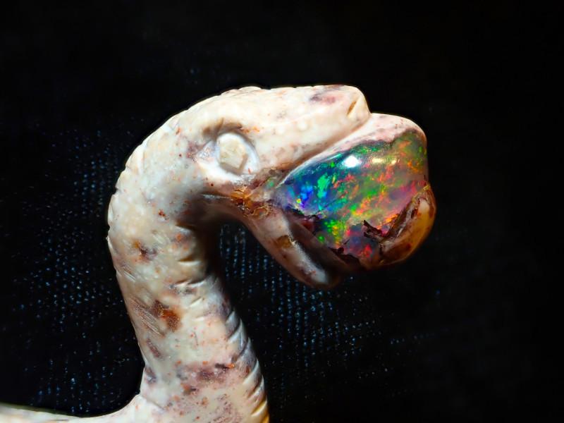 100ct Unique Nature Beauty Gift Matrix Opal Carving Mesmerizing Snake