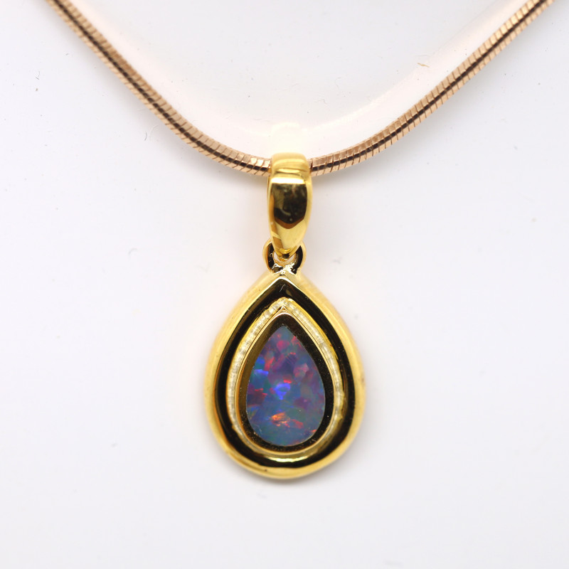 GOLD RHODIUM PLATED OPAL DOUBLET PENDANT [FP35]