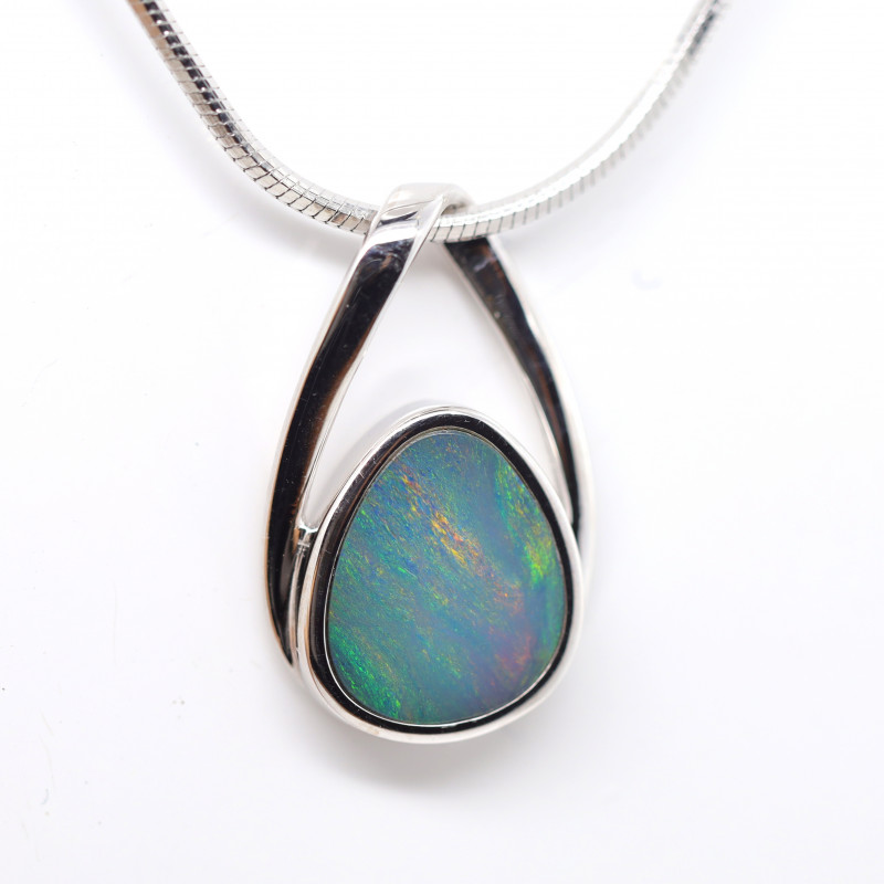 925 ST/ SILVER RHODIUM PLATED OPAL DOUBLET PENDANT [FP45]