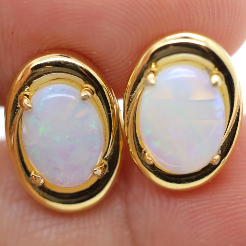 GOLD RHODIUM PLATED SILVER CRYSTAL OPAL EARRINGS [FE1]