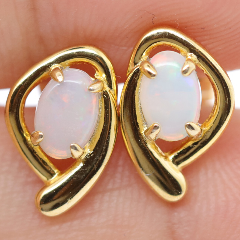 925 ST/ SILVER GOLD RHODIUM PLATED CRYSTAL OPAL EARRINGS [FE3]