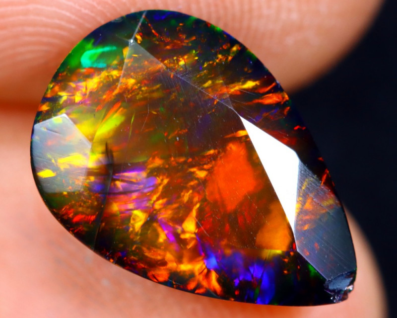 2.97cts Natural Ethiopian Welo Faceted Smoked Opal / HM1268