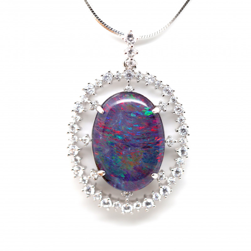 925 ST/ SILVER RHODIUM PLATED OPAL TRIPLET PENDANT [FP49]