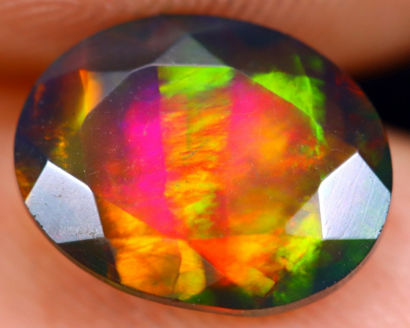 1.34cts Natural Ethiopian Welo Faceted Smoked Opal / HM1339