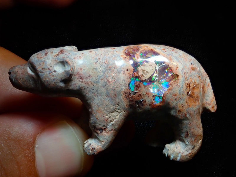 90ct Unique Nature Beauty Gift Matrix Opal Carving Mesmerizing Bear