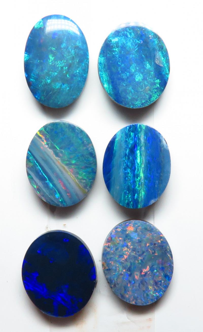 10x8mm 6 Stone Australian Doublet Opal Parcel