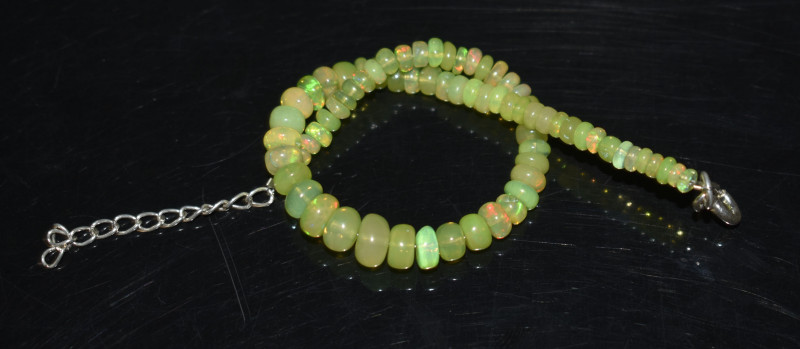 22.40 CT OPAL BRACELET MADE OF NATURAL ETHIOPIAN BEADS STERLING SILVER OBB6