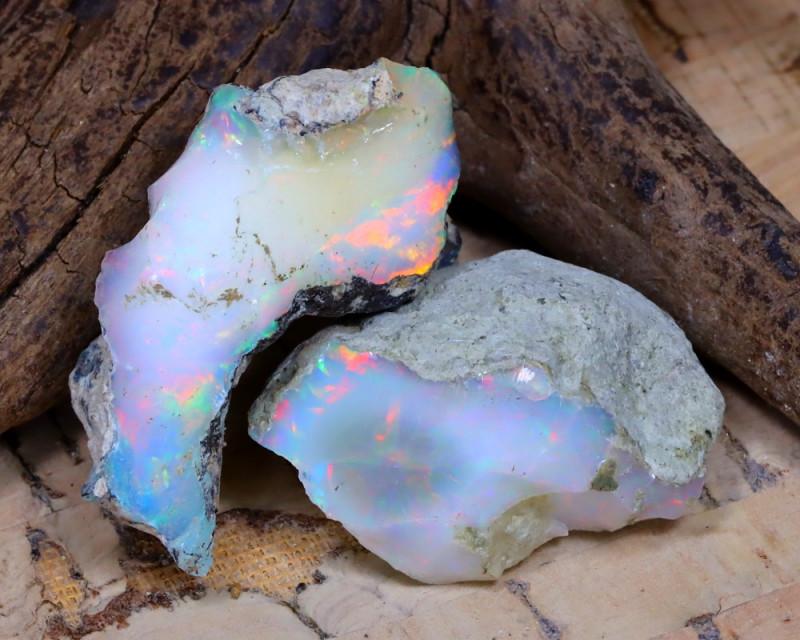 Welo Rough 32.69Ct Natural Ethiopian Play Of Color Rough Opal E1801