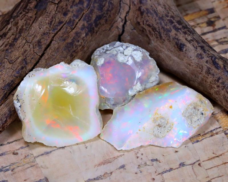 Welo Rough 28.24Ct Natural Ethiopian Play Of Color Rough Opal E1903