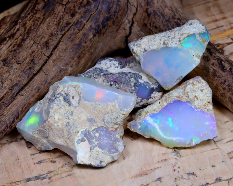 Welo Rough 38.73Ct Natural Ethiopian Play Of Color Rough Opal D2008