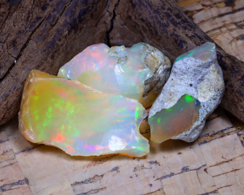 Welo Rough 24.65Ct Natural Ethiopian Play Of Color Rough Opal D2012