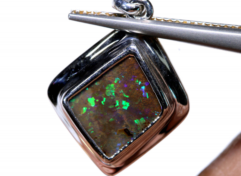 12.25 CTS BOULDER OPAL SILVER PENDANT OF-2799