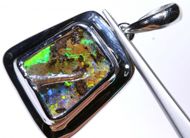 22.05 CTS BOULDER OPAL SILVER PENDANT OF-2800