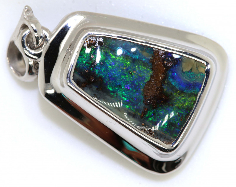 15.60 CTS BOULDER OPAL SILVER PENDANT OF-2808
